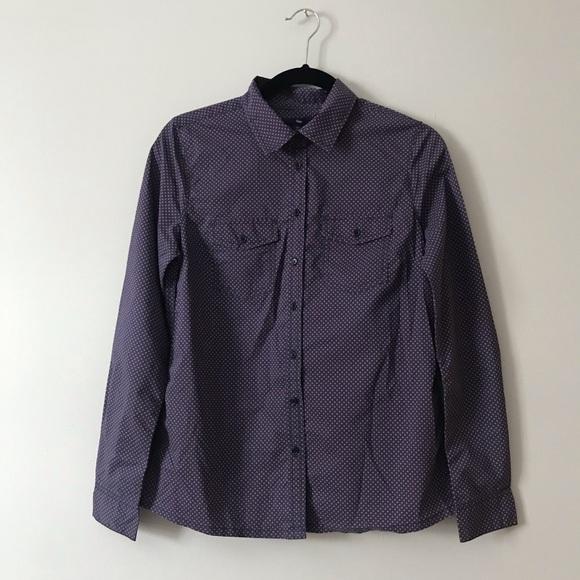 Gap polka dots navy blue button up shirt